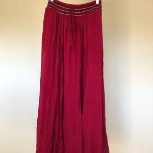 Zara burgundy red maxi peasant embroidered skirt M